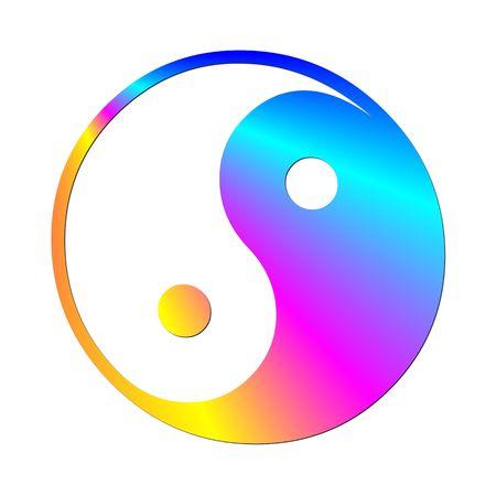 Ilustración de un colorido símbolo ying y el yang Foto de archivo