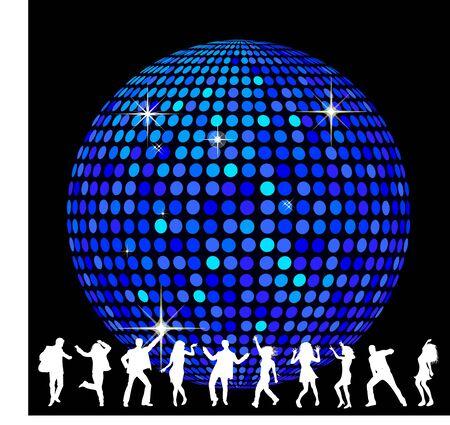 Bola de discoteca y baile de personas Foto de archivo