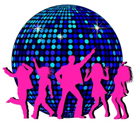 Disco Ball and dancing People photo