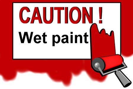 wet paint: Caution - wet paint warning sign Stock Photo