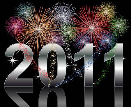 Ilustración de un fondo de 2011 de año nuevo feliz  Foto de archivo