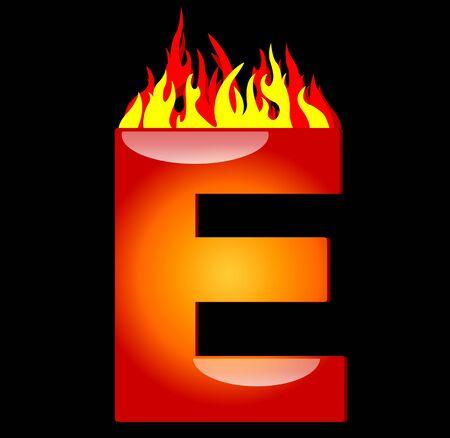 arabische letters: Letter E on Fire