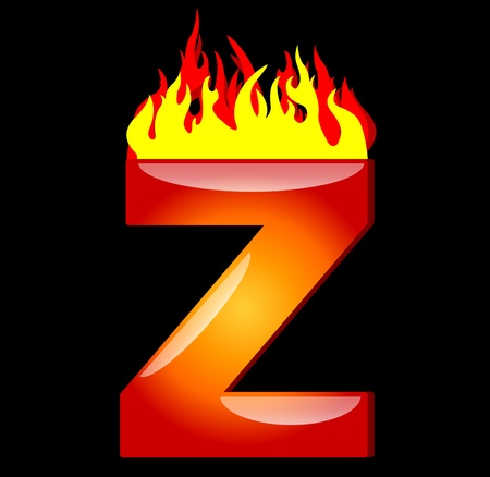 flame alphabet: Letter Z on Fire
