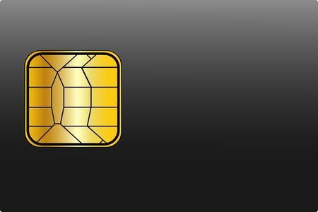 Carro de crédito en blanco con un Chip de oro