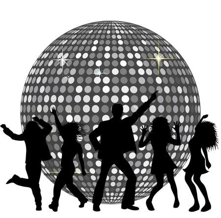 disco party: Disco Ball and dancing People Stock Photo