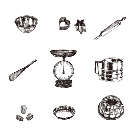 Vintage Illustratin with, mixer, rolling, whisk, scales, cookie type, type gugelhupf, madeleine, ball.