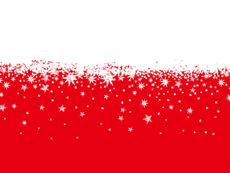 christams: red background with snowflakes and stars, vector illustration