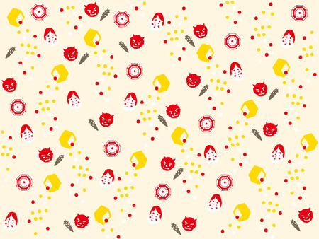 soybean: Japan, icon, devil, decoration, vector, culture, bean, soybean, demon, event, setsubun, traditional, illustrator, holly, decorative, texture, tradition, festival, banner, japanese, february, frame, copyspace