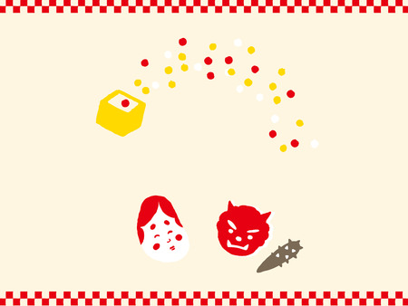 Set of Setsubun illustrations. Setsubun:Japanese traditional event on February 3. People throw soy-beans at devil.