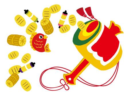koban, geluk, gouden munten, hamer, rode snapper, zak rijst