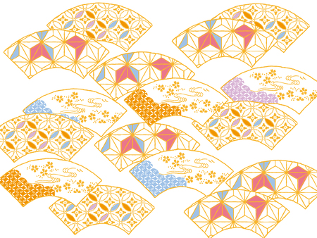 original design: Colorful fan: An original design using traditional Japanese patterns