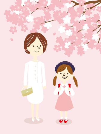 schoolkids: apanese entrance ceremony of elementary school Illustration