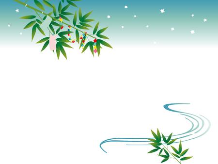 starlit sky: bamboo of TANABATA festival Illustration