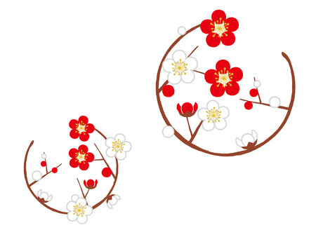circle with plum blossom Stock Illustratie