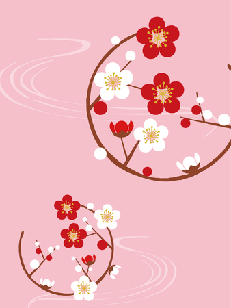 circle with plum blossom Vettoriali