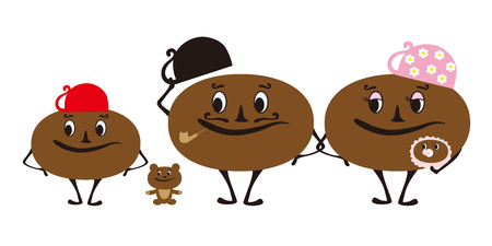bean family: Vector illustration of coffee bean family character Illustration