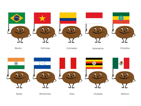 origin: Vector illustration of coffee bean character with country of origin of the national flag