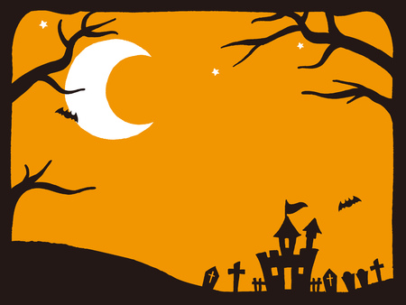 ghost house: Vector Illustration of a Scary Halloween Background