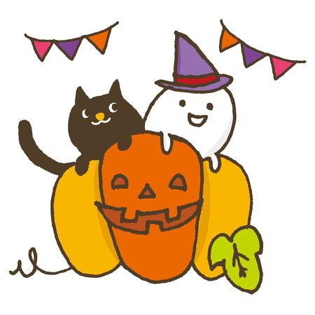 할로윈 호박과 고양이