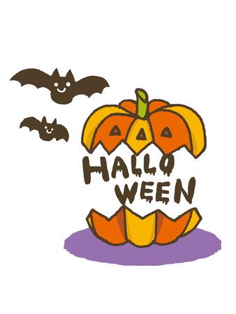 halloween pumpkin with bat
