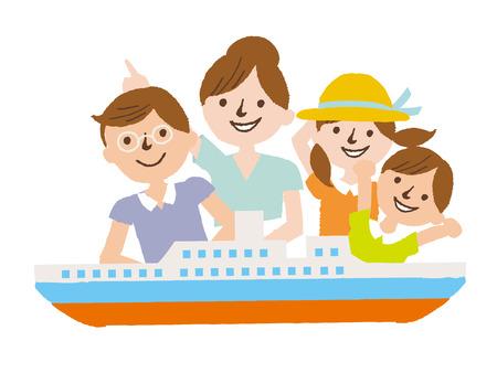 fellowship: family in the ship. cartoon vector illustration