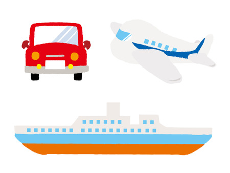 Various types of transport: car, train, ship and airoplane. Vector set of different means of transportation.  イラスト・ベクター素材
