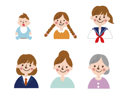Generations woman. All age categories-infancy, childhood, adolescence, youth, maturity, old age. Stages of development. Vector illustration