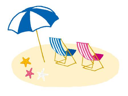 椅子と熱帯のビーチの傘
