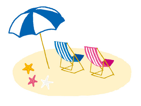 guam: Chair and umbrella on a tropical beach Illustration