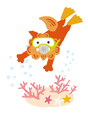 okinawa: Okinawan shi shi dog scuba diving with coral and starfish