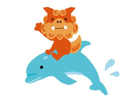 Okinawan shi shi dog sitting on dolphin