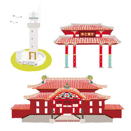 沖縄の観光スポット  イラスト・ベクター素材