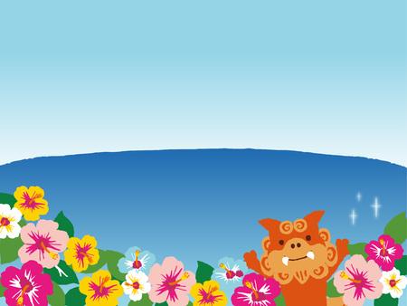 okinawa: Illustration of the sandy beach. And Okinawan shi shi dog and hibiscus.
