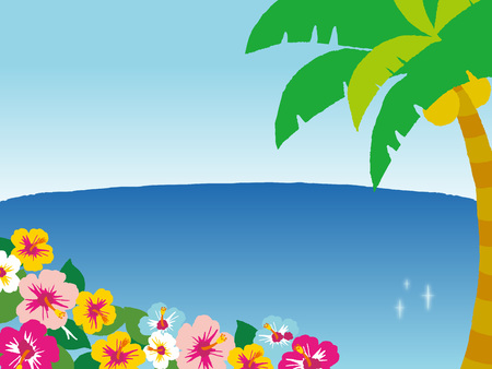 sandy: Illustration of the sandy beach. And Palm tree and hibiscus. Illustration