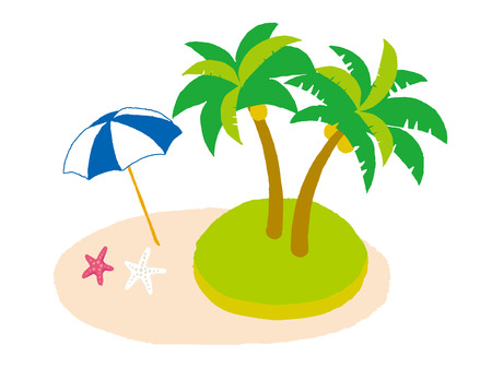 Illustration of the sandy beach. And Palm tree and starfishes and Beach umbrella. Illustration