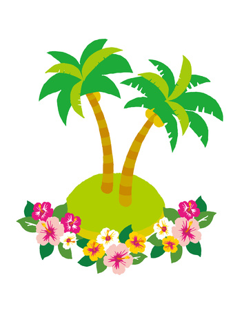 Palm tree and hibiscus.