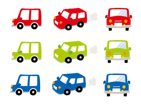 Vector Mini Car-Side-Front - Back view Illustration