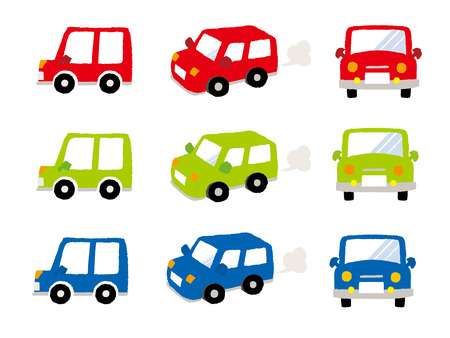 rear view: Vector Mini Car-Side-Front - Back view Illustration