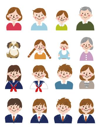 Personas generaciones a diferentes edades.