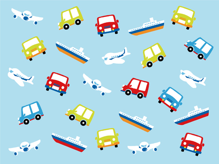 Various types of transport: car, train, ship and airoplane. Vector set of different means of transportation. Illustration