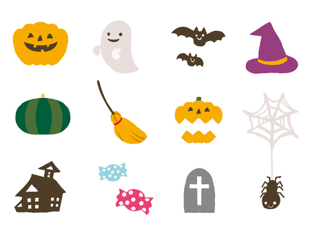ghost house: halloween icons Illustration