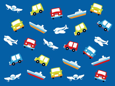 Various types of transport: car, train, ship and airoplane. Vector set of different means of transportation. Ilustrace