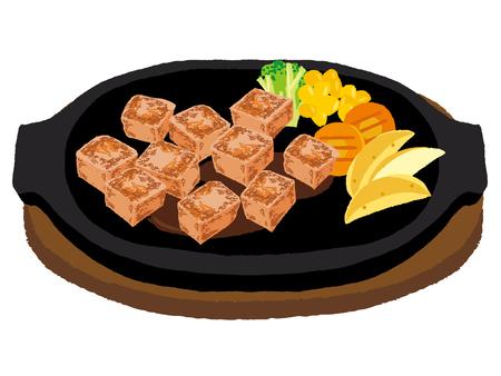 サイコロ ステーキ  イラスト・ベクター素材