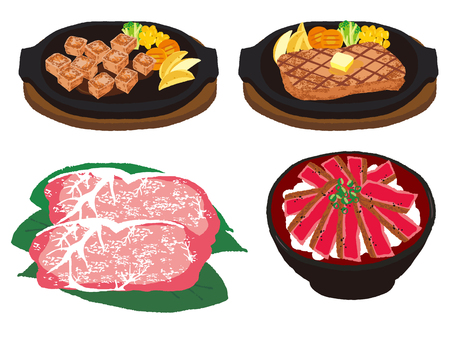 Various steak dish sets Illustration