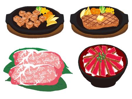 Varios conjuntos de plato de carne