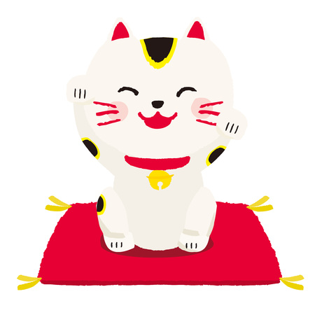 beckoning cat, vector Illustration