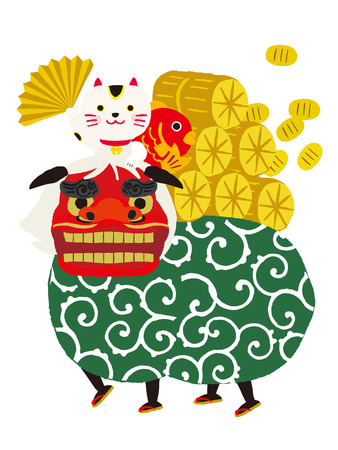 sea bream: lion dance, beckoning cat, vector