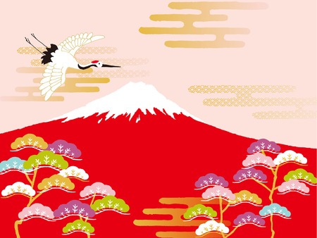 Cranes and Red Fuji