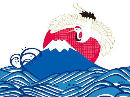 ukiyoe: The first sunrise in Japan Illustration