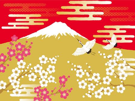 japanese apricot: Crane, mt.fuji